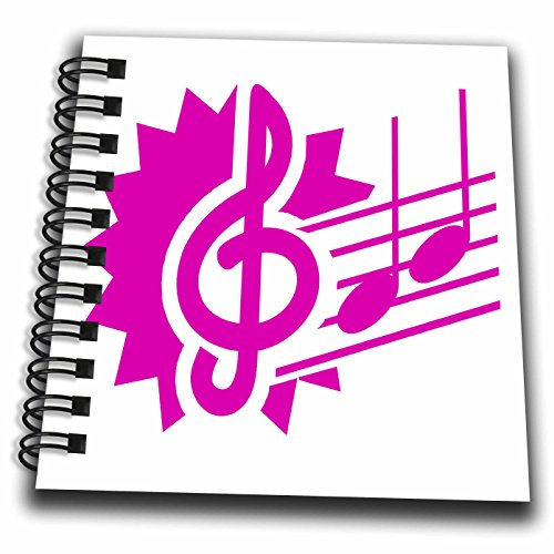 Susans Zoo Crew Music - treble clef eighth notes staff graphic pink - Mini Notepad 4 x 4 inch (db_164420_3) - Music Staff Treble Clef