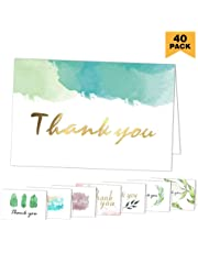 Thank You Cards 40 Pack Assorted Thank You Notes Greeting Cards with Envelopes for All Occasion ,Your Wedding, Graduation, Baby Shower, Bridal Party ,Anniversary, Business, 4 x 6 Inches- Blank Inside
