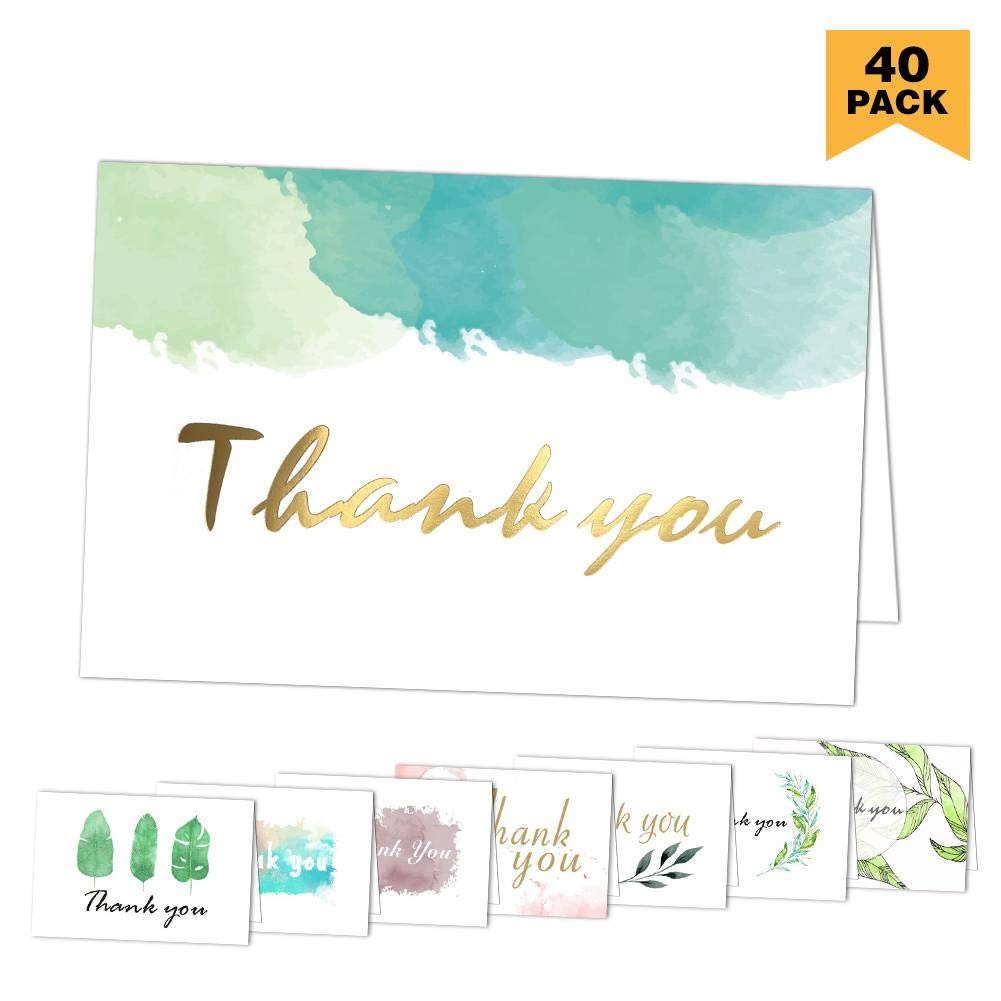 Thank You Cards 40 Pack Assorted Thank You Notes Greeting Cards with Envelopes for All Occasion ,Your Wedding, Graduation, Baby Shower, Bridal Party ,Anniversary, Business, 4 x 6 Inches- Blank Inside KUMY