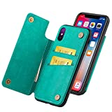 WenBelle Wallet case for Apple iPhone XS/iPhone X, Premium PU Leather Kickstand Card Slots Case,Double Magnetic Clasp and Durable Shockproof Cover Flip Cases for iPhone Xs/X /10 5.8 inch(Green)