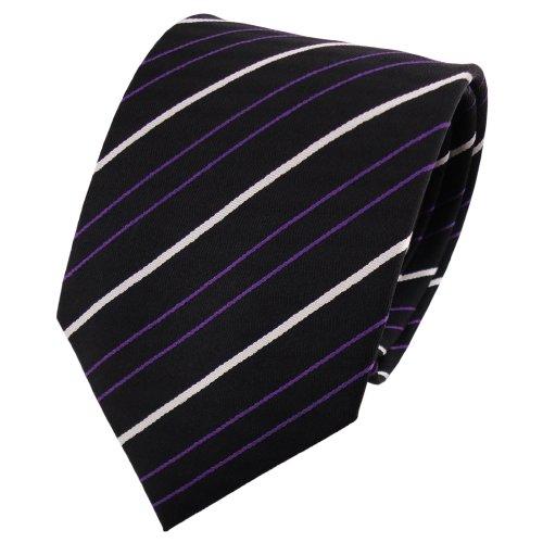 TigerTie cravate en soie lila violet foncé noir argent rayé - cravate en soie