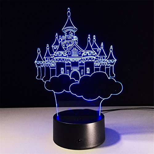 21 Castle 3D Optical Illusion Night lamp 7 Color Changing LED Light for Kids Bedroom Decor ()