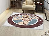 smallbeefly Fitness Floor Mat for kids Retro Style Sexy Lady with Dumbbells Elite Physique Grunge Display Door Mat Increase Chocolate Pale Pink Blue