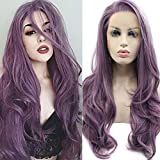 TIAMO Purple Synthetic Lace Front Wig Wavy Free Part Heat Resistant Fiber Hair for Women Half Hand Tied 24 inch
