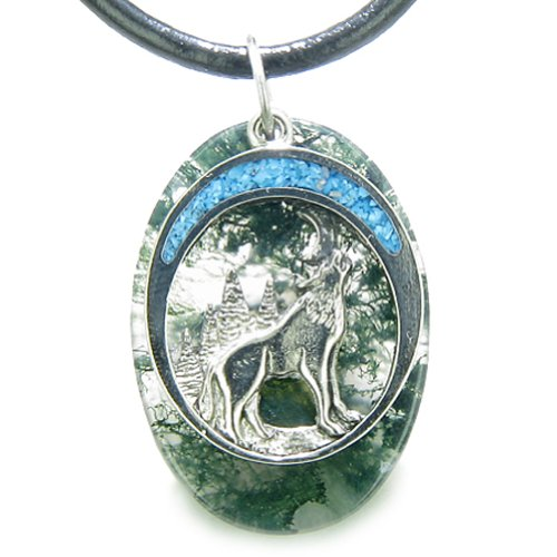 (Howling Wolf Moon Amulet Good Luck Powers Moss Agate Gemstone Leather Pendant Necklace)