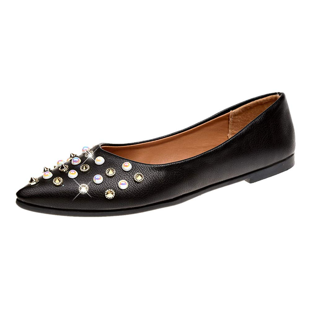 Womens Sexy Rhinestone Pearl Flats Shoes Casual Slip On Pointed Toe Crystal Rivet Pumps Dress Single Shoes (Black, US:7.5)
