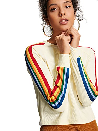 Romwe Women's Long Sleeve Rainbow Colorblock Striped Graphic Print Rib T-Shirt Tee Top (XL, Beige)