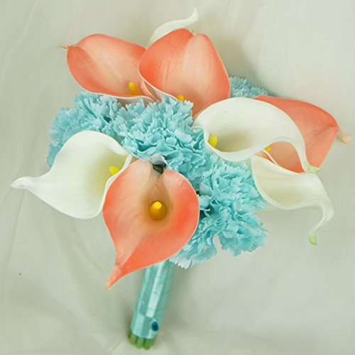 Lily Garden Real Touch Calla Lily Coral and White and Carnation Turquoise Flowers Wedding Bouquet (Bridesmaid Bouquet) (Turquoise Flower Coral)