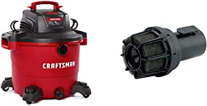 CRAFTSMAN CMXEVBE17595 16 Gallon 6.5 Peak HP Wet/Dry Vac, Heavy-Duty Shop Vacuum with Attachments & CMXZVBE38660 2-1/2 in. Muffler Diffuser Wet/Dry Vac Attachment