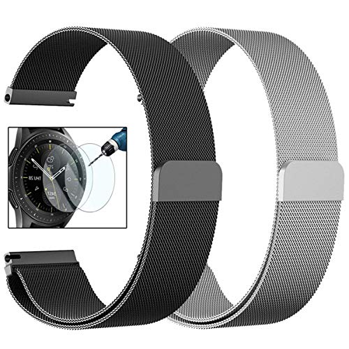 CAGOS Compatible Galaxy Watch (42mm)/Galaxy Watch Active Bands Sets, 20mm 2 Pack Stainless Steel Milanese Loop Mesh Bracelet Strap Replacement for Galaxy Watch 42mm/ Ticwatch E Smartwatch -Small