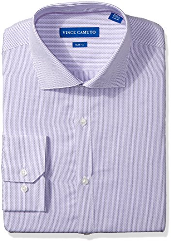 Vince Camuto Men's Slim Fit Thin Dress Shirt, Purple/White Dobby Stripe, 15.5
