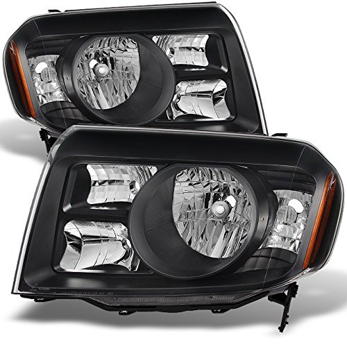Honda Pilot SUV Black Headlights Head Lamps Driver Left + Passenger Right Side Replacement Pair Set (Honda Pilot Headlight Assembly)