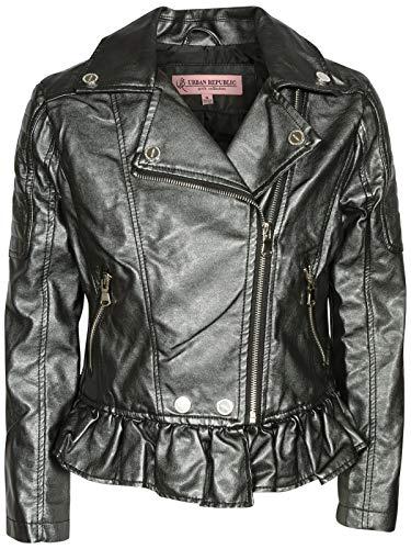 Urban Republic Toddler & Big Girls Faux Leather Motorcycle Moto Biker Jacket (10/12, Gunmetal Metallic)'