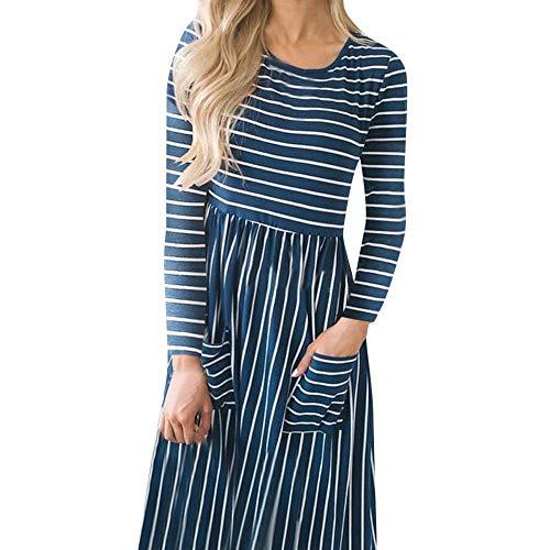 Womens Printing Pockets Sleeve Dress Swing Long Pockets Blue Dress Stripe Prom Party Dot 2018 Chanyuhui Evening Women XEqx1F