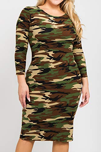 ICONOFLASH Women's Plus Size Camo 3/4 Sleeve Bodycon Midi Dress - Crew Neck Fitted Dress 2X-Large