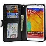 Navor Samsung Galaxy Note 3 Life Protective Book Style Folio Wallet Leather Case (Black)