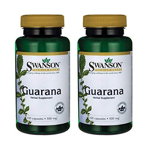 Swanson Guarana 500 Milligrams 100 Capsules (2 Pack)