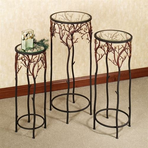 Touch of Class Coral Reef Pedestal Set Burnt Red Set of Three by Touch of Class