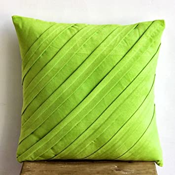 Lime Green Decorative Pillows Cover, Textured Pintucks Solid Color Throw  Pillows Cover, Pillow Covers