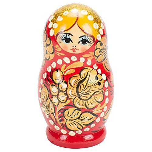 St. Petersburg Collection Glitter Floral 5 Piece Wood 4 Inch Matryoshka Russian Nesting Dolls Set