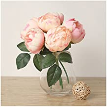 HJFF-1 Bouquet Artificial Fake Peony Silk Flower Hydrangea Home Wedding Garden Decor ,Light Pink