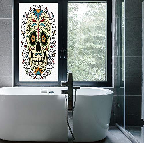 YOLIYANA Stained Glass Window Film,Sugar Skull Decor,for Bathroom Shower Door Heat Cotrol Anti UV,Catrina Calavera Featured Figure Ornaments Macabre Remember The,24''x48''