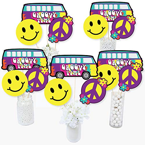60's Hippie - 1960s Groovy Party Centerpiece Sticks - Table Toppers - Set of 15 -