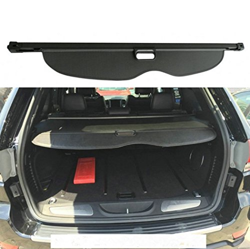 SunnyKun Retractable Rear Trunk Parcel Shelf Security Shield Cargo Luggage Security Cover Shade For Jeep Grand Cherokee 2011 2012 2013 2014 2015 (Black)