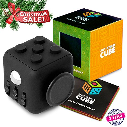 Anti stress Fidget Cube Prime - Exclusive Quality Stress Reliever (All Black Premium)