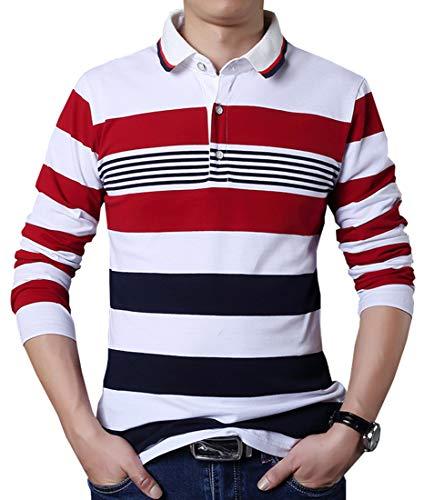 FRTCV Mens Polo Shirts Long Sleeve Slim Fit T-Shirt H06 Stripe Asian 4XL/US XL