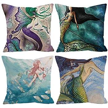 Coastal Throw Pillow Covers Mermaid Sea Theme Zip Square Cotton Linen 4PCS 18X18