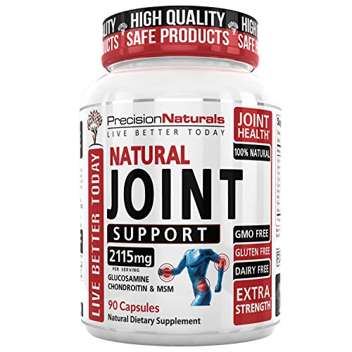 Joint Support Formula Glucosamine Sulfate + Chondroitin + MSM + Curcumin - Extra Strength - Natural Health Support for Pain Relief, Soreness - 90 Tablets Non GMO Gluten Free Advanced Natural Health