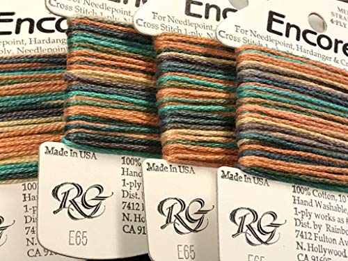 RAINBOW GALLERY-Encore-(10 YDS/Card)-4-PLY Cotton-for Needlepoint-Hardanger OR Cross STITCH-COLOR-E65-TAHOE-THIS Listing is for 1 -