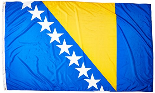 Annin Flagmakers Model 221715 Bosnia-Herzegovina Flag Nylon SolarGuard NYL-Glo, 5x8 ft, 100% Made in USA to Official United Nations Design Specifications ()