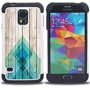 """SAMSUNG Galaxy S5 V / i9600 / SM-G900 - 3 en 1 impreso colorido de Altas Prestaciones PC Funda chaqueta Negro cubierta gel silicona suave (Líneas Textura de madera Docks Pier Surf"""")"""