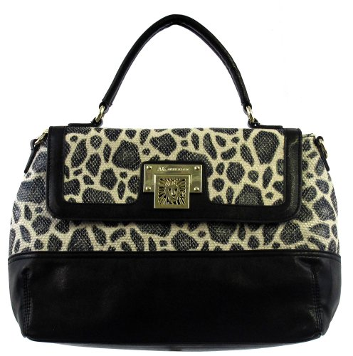 Anne Klein Womens Road Block Textured Satchel Handbag Black-Ivory Large