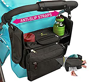 Universal Stroller Organizer with Cup Holders & Wipes Pocket–Stroller Accessory with Non Slip Straps for Secure Fit –Tons of Pockets for Extra Storage-True Universal Design for Uppababy Vista & Others