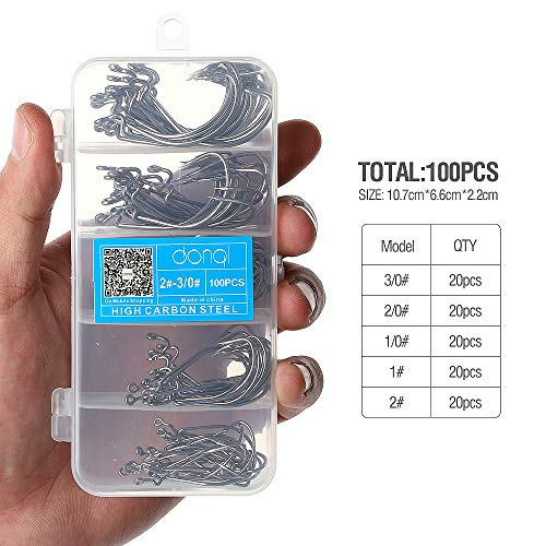 DONQL Wide Crank Fishing Hooks High Carbon Steel Worm Senko Bait Jig Fish Hooks with Plastic Box (100PCS -