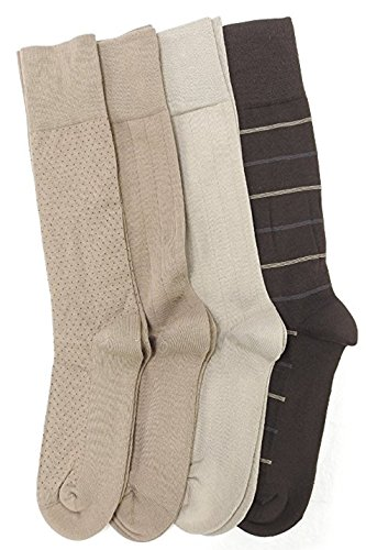Kirkland Signature 4 Pk Mens Size 6 1 2 12 Cushion Foot Dress Socks  Khaki Brown