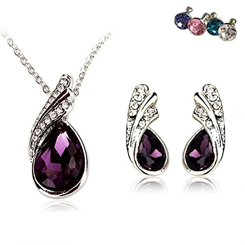 AmaziPro8 Fashion Jewelry Sets – Set includes Fashion Jewelry Earrings + Pendant + Necklace - Crystal High-Grade fashion jewelry for women (Dark Purple) - Tai Lung Costume