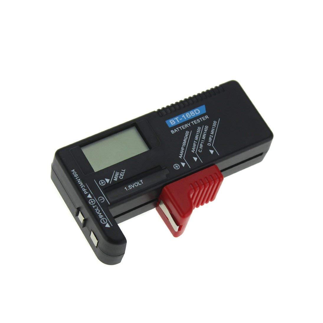 WEIHAN Testeur de Batterie num/érique D/étecteur de capacit/é de loutil de Diagnostic V/érificateur de Volt pour AAA AA CD 9V 1.5V Pile Bouton BT-168D Noir