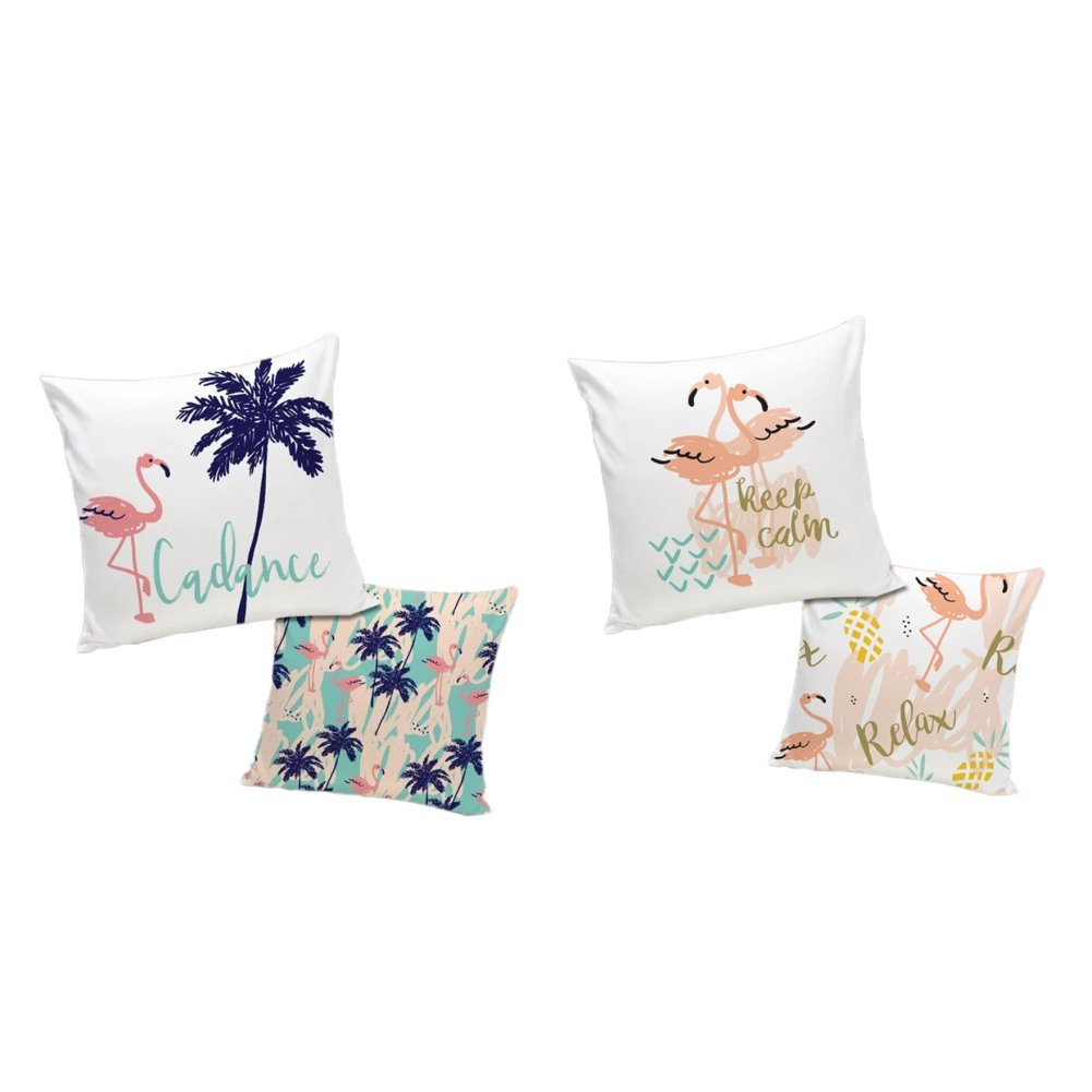 ETZON Sofa Cover Pillow Cases Palm Tree Beach Flamingo Throw Pillow Covers 18x18 Couch Pillows Decorative Pillow Covers set of 2