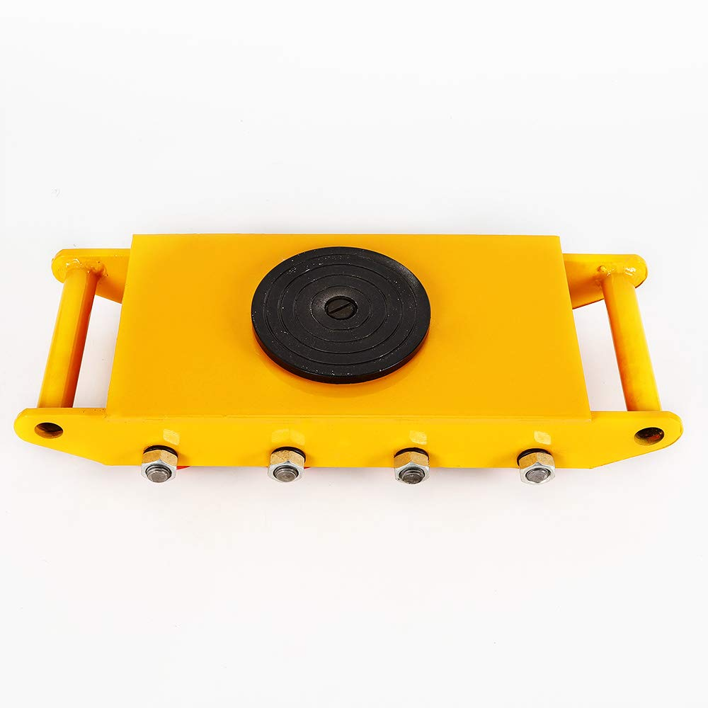 Industrial Machinery Mover, Machinery Mover Roller Dolly Skate with 360 Degree Rotation Cap (Yellow, 12T/26400)