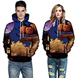 Women Men Tops Long Sleeve O-Neck 3D Print Halloween Couples Drawstring Hoodies Sweatshirt Pullover (XL, Blue 1496)