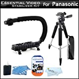 Essential Video Stabilizer Kit For Panasonic HDC-SD90K HD Camcorder Includes AXIS-G Camcorder Action Stabilizing Handle + 57'' Full Tripod w/Case + LCD Screen Protectors + 3pc Cleaning KIt + MicroFiber Cloth