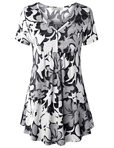 BAISHENGGT V Neck Tops for Women, Women's Short Sleeve V Neck Front Pleated Flared Comfy Loose Tunic Top Black Floral #3 L