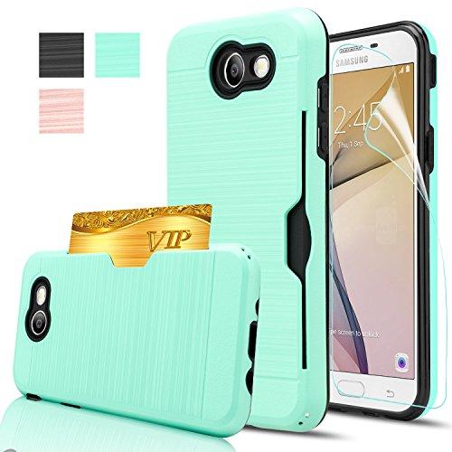 Galaxy J7 V Case,Galaxy J7 Sky Pro / J7 Perx / J7V 2017 Case With HD Screen Protector,AnoKe[Card Slots Holder] Kickstand Plastic TPU Hybrid Wallet Case For Samsung Galaxy J7 2017 KC2 Mint New