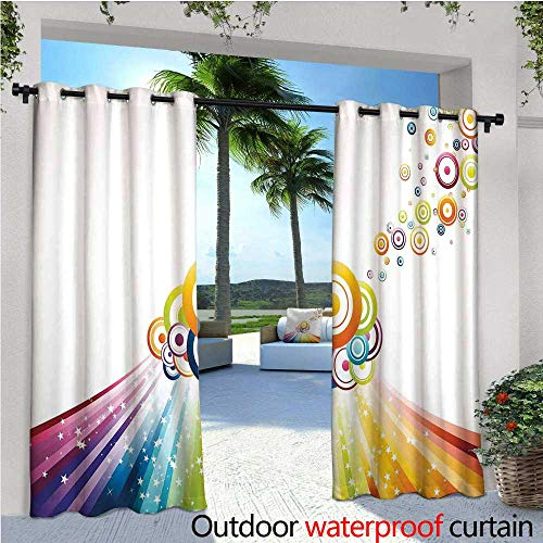cobeDecor Vintage Rainbow Exterior/Outside Curtains Colorful Stripes Wave and Bullseye Circles Pattern with Stars Illustration for Patio Light Block Heat Out Water Proof Drape W84 x L108 Multicolor (Light Bullseye Plum)