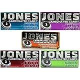 Jones Carbonated Candy Tin 5 Flavor Variety Bundle: (1) Jones Berry Lemonade, (1) Jones Green Apple, (1) Jones Cherry Cola, (1) Jones M.F. Grape, and (1) Jones Fufu Berry, .89 Oz. Ea.