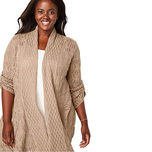 Woman Within Women's Plus Size Open Front Pointelle Cardigan - New Khaki, 2X ()